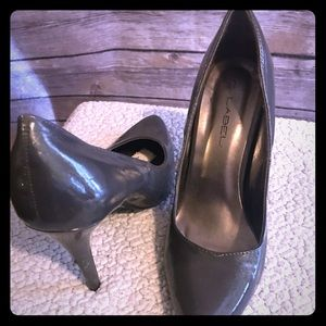 Gray patent stilettos